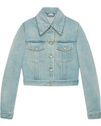 7a0f3aac780 Gucci - Veste en jean avec empiècements - Lyst