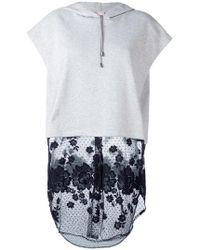 Giamba | Lace Detailing Shortsleeved Hoodie | Lyst