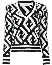 Fendi - Logo V-neck Sweater - Lyst