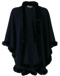 N.Peal Cashmere | Fur Trimmed Cashmere Cape | Lyst