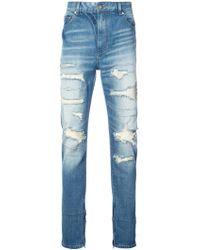 God's Masterful Children - Ripped Straight-leg Jeans - Lyst