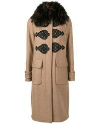 Bazar Deluxe - Fur Collar Long Coat - Lyst