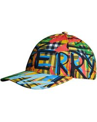 Burberry - Scribbled Graffiti Check Cap - Lyst