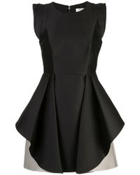 Halston - Flared Two-tone Dress - Lyst