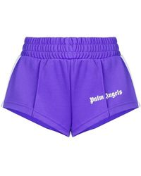 Palm Angels - Cropped Side Stripe Track Shorts - Lyst