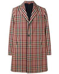 Barena Classic Overcoat With Tartan Print - Brown