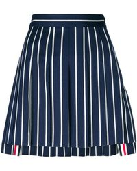 Thom Browne - Striped Pleated Mini Skirt - Lyst