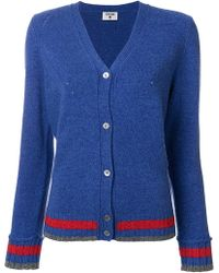 J.won - Stripe Detail V-neck Cardigan - Lyst