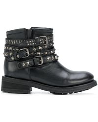 Ash - Studded Buckle Strap Boots - Lyst