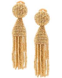 Oscar de la Renta - Beaded Tassel Clip-on Earrings - Lyst