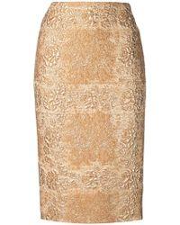 Valentino - Falda de tubo con brocado - Lyst