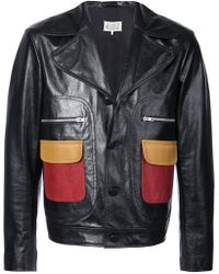 Maison Margiela - Contrast Pockets Leather Jacket - Lyst