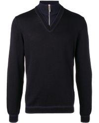 Dirk Bikkembergs - Quarter Zip Chevron Sweater - Lyst