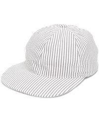 6e2b9eaac29 Lyst - Moncler Gamme Bleu White   Grey Seersucker Bucket Hat in Gray ...