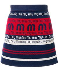 Miu Miu - Logo Printed Mini Skirt - Lyst