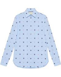 Gucci - Feline Head And Symbols Fil Coupé Shirt - Lyst