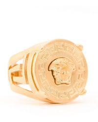 Versace - Gold Tone Medusa Logo Signet Ring - Lyst