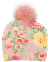 Blumarine - Knit Rose Print Beanie - Lyst