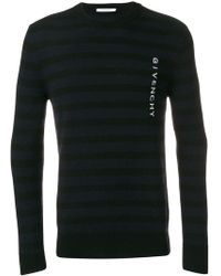 Givenchy - Logo Embroidered Striped Sweater - Lyst