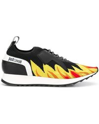 b7d70e0198 Just Cavalli - Flame Print Low-top Sneakers - Lyst