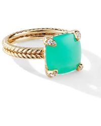 David Yurman - 18kt Yellow Gold Châtelaine Chrysoprase And Diamond Ring - Lyst