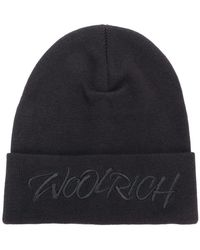 Woolrich - Logo Embroidered Knitted Hat - Lyst
