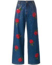 Ashish - Rose Embroidered Sequin Jeans - Lyst