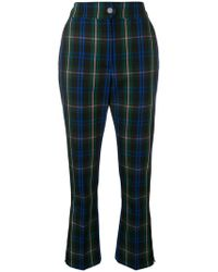 MSGM - Cropped Tartan Trousers - Lyst