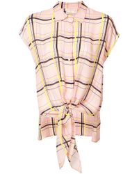 Nicole Miller - Checked Printed Sleeveless Fastened Blouse - Lyst