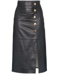 SKIIM - Lucy Button Detail Leather Skirt - Lyst