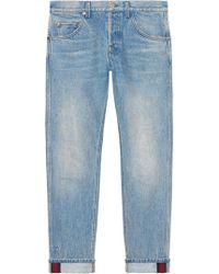 Gucci - Pantaloni Affusolati Con Dettaglio Web - Lyst