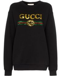 Gucci - Black Sequin-embellished Cotton Sweatshirt - Lyst