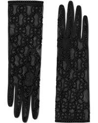 Gucci - Перчатки Из Тюля С Узором GG - Lyst