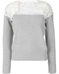Sacai - Lace-panelled Sweater - Lyst