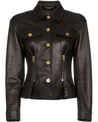 Versace - Leather Button Down Zip Detail Jacket - Lyst
