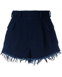 Philosophy Di Lorenzo Serafini - Frayed Indigo Cotton Short - Lyst