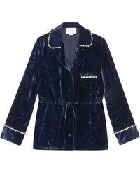 Gucci Camisa de pijama de terciopelo - Azul