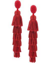 Oscar de la Renta - Multi Tiered Tassel Earrings - Lyst