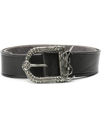90ddf3d7980 Lyst - Saint Laurent Monogram Round Snake-buckle Suede Belt in Brown ...