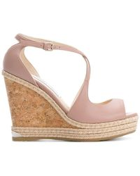 Jimmy Choo - Dakota 120 Leather Wedge Sandals - Lyst