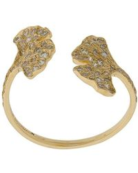 Aurelie Bidermann - 18kt Yellow Gold Ginkgo Diamond Open Ring - Lyst