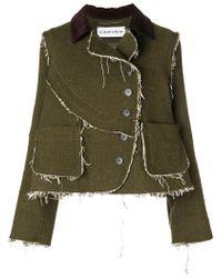 Carven - Frayed Hem Patchwork Jacket - Lyst