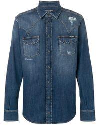 1c0d970fa7 Lyst - Dolce   Gabbana Blue Embroidered Denim Jacket in Blue for Men