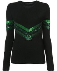 Sally Lapointe - Sequin Chevron Detail Sweater - Lyst