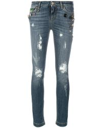 Dolce & Gabbana - Button Embellished And Brocade Appliqué Distressed Jeans - Lyst