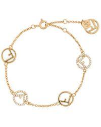 Fendi - Gold Metallic F Logo Crystal Embellished Bracelet - Lyst