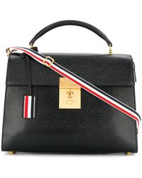 Thom Browne - Unstructured Mrs. Thom Jr. (28x19,5x9 Cm) With Red, White And Blue Shoulder Strap In Pebble Lucido Leather - Lyst