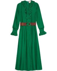 4f69ca95670 Gucci - Silk Dress With Double G Belt - Lyst