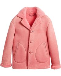 Burberry | Leather Trim Shearling Jacket | Lyst