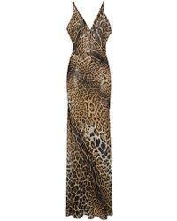 Saint Laurent - Sleeveless V-neck Sheer Leopard Print Dress - Lyst